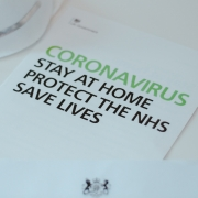 The front of a Covid-19 advice booklet